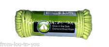 "15 M / 50 ft Long Diamond Braid Glow in the dark  Rope 3/16""  ( guy rope hiking)"