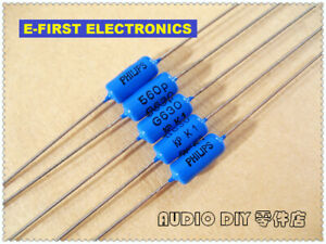 20pcs/200pcs PHILIPS  KP464 series 560pF/630V 2% axial tin film capacitor (561)