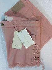 NEW ZARA Jean Shorts Size Large Jeans Dusty Rose Pink Cut Off Leg Side Tie Pants