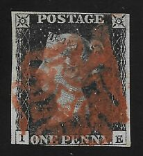 GB Victoria #1 Penny Black, Letters I-E, Red MX, Good Used