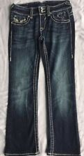 VIGOSS The New York Bootcut Womens Jean's W25 L 33 Thick Stitch Embellished EUC