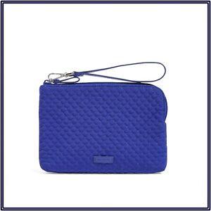 NWT Vera Bradley Iconic Pouch Wristlet Wallet Purse in Gage Blue Microfiber