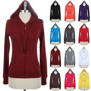 Women's Solid Long Sleeve Front Zip Up Drawstring Hooded Jacket Pockets S M L