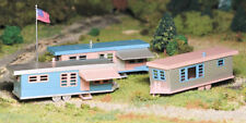 New In Box  O/S Scale Plasticville Trailer Park Kit with 3 Trailers By Bachmann