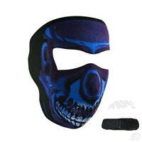 Blue Chrome Skull Neoprene Full Face Mask & Extender Large XL Heads Biker ATV