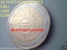 2 euro 2012 fdc Portogallo Portugal EMU UEM COM TYE decennale circolazione