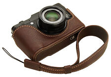 Genuine leather half case&Handstrap for FujiFilm X10 X20 /Minerva Box Dark Brown