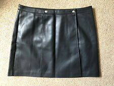 Brand New ASOS Size 16 Black Faux Leather Vegan Rocker Emo Punk Wrap Mini Skirt