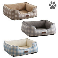 Laura Ashley Orthopedic Pet Dog Bed Bolster Cuddler Washable Medium Microfleece