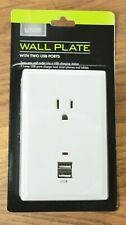 WALL PLATE with 1 OUTLET and 2 USB PORTS, WHITE -- BRAND NEW (Lot of 3)