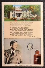 BIRTHPLACE OF WILL ROGERS Linen Postcard PC ( Comedic Actor Radio Personality )