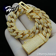 "8.5""MEN 14K GOLD FINISH 12MM BLING GOLD MIAMI CUBAN CURB CHAIN BRACELET*BGB4"