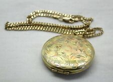 Beautiful Large Two Colour 9 Carat Gold Locket And Chain