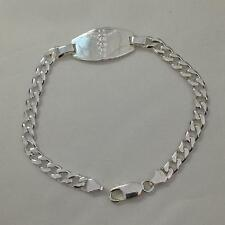 """9"""" (16.5g) Sterling Silver Cuban Curb Chain Medical ID Bracelet, Free Engraving"""