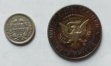 More details for old american coins 1855 one silver dime and 1968 well toned quarter dollar coin