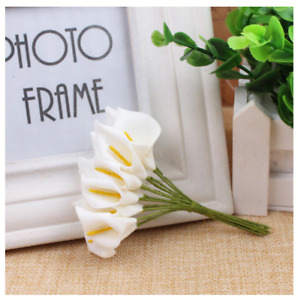 12 x Ivory Calla Lillies Wired Stem Artificial Lily Bouquet Craft Flowers