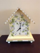 Hand Painted Mantle Clock - Purple & Green Flowers On Yellow - Artist Signed