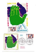 """FRANCE """"  """" Lutte contre le racisme """". Carte et envelopp  e 1er jour"""
