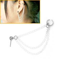 Ear Cuff 3 Chains Triple Link Chain Tassels  Clip Stud Earring Bohemian