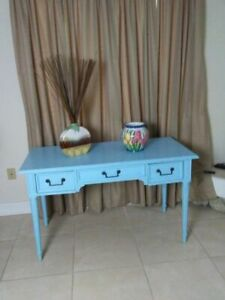 Vintage Wood Painted Blue Desk Three Drawer  Century Co  Shabby Chic