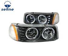 Anzo Crystal Headlights Black w/Halo & LED For 99-06 GMC Sierra #111207