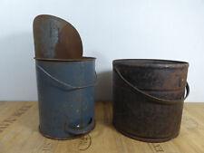 2 x Alter Ascheeimer Kohleneimer Kohleeimer Metalleimer Werkstatt Loft Vintage