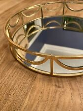 Round Gold Mirror Candle Decorative Plate Tray Wedding Table mehndi Thaal  24cm