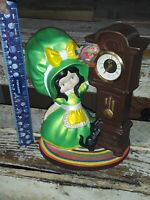 Vtg 1974 Byron Molds Ceramic Bonnet Girl,Cat Grandfather Wind-Up Clock Germany