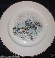 "VILLEROY & BOCH FONTAINEBLEAU SALAD PLATE 8 1/4"" GROUSE ON BRANCH BROWN TRIM 6"