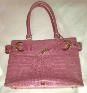 ELAINE TURNER Pink Leather Structured handbag Gold Tone Hardware