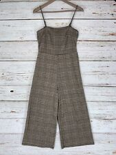 Heart Hips Knit Jumpsuit Juniors Sz Medium Black Tan Houndstooth Wide Crop Leg