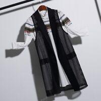 Black Oversize Lady Long Waistcoat Mesh Sleeveless Coat Jacket Vest Cardigan Top