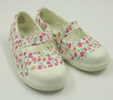 Old Navy Girls White Multi Color Floral Mary Jane Flats Shoes Size 8 NEW
