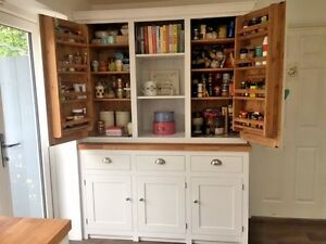 Larder Pantry Cupboard Solid Wood Spice Racks Painted with Solid Oak Worktop