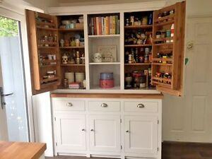 Larder Pantry Cupboard Solid Wood Spice Racks Painted with Solid Oak Worktop