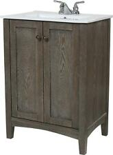 XYLEM BATHROOM VANITY SINK CHEST TRANSITIONAL SINGLE 24-IN WEATHERED OAK