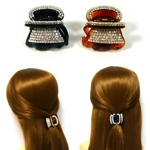 Bling Crystal Rhinestone Brown Black Plastic Hair Claw Jewelry Jaw Clip Hairpin