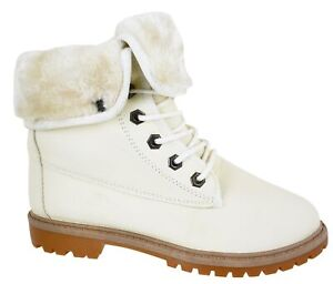 LADIES FLAT GRIP SOLE WOMENS ANKLE LACE UP WARM WINTER COMBAT ARMY BOOTS SIZ 3-8