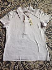 Nwt Women's Sport Haley White Golf Shirt Medium Msrp $72 Cute Star Details