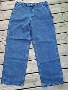 NWT Carhartt Denim Carpenter Pants Jeans 36x30 Loose Original Fit Navy