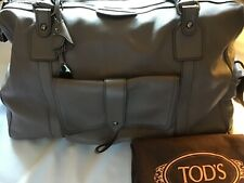 NEW TOD'S BENSENVILLE HANDBAG GRAY LEATHER, LARGE ENOUGH FOR HOLDALL, OVERNIGHT