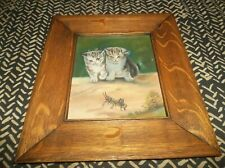 Antique Oil on Canvas Painting 2 Kittens & Grasshopper in Original Oak Frame