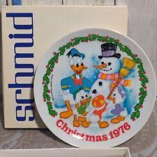 """Schmid Walt Disney's 1976 Christmas 8â…�"""" Plate Donald Duck, Huey Dewey and Louie"""