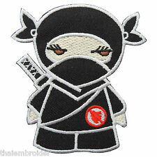 Cute Ninja Samurai Japan Japanese Boys Girls Red Heart Iron-On Patches #C041