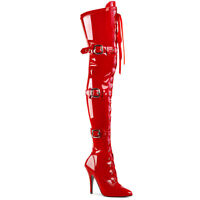 Pleaser SEDUCE-3028 Red Patent Heels Ribbon Zip Stretch Thigh High Boots