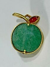Elegant 18k Gold and Jade Made in Italy Lucky Apple Brooch/Pendant