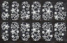 Dentelle Blanche Simple Fleur Design Nail Art Stickers Couleur Strass Nail Wrap