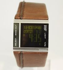 DIESEL MEN'S STAINLESS STEEL DIGITAL WATCH WITH WIDE BROWN LEATHER BAND DZ-7144