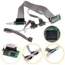 Mini PCI-e 2 Serial Ports + 1 Parallel I/O Mini Card PCIe to RS232 DB9 Adapter