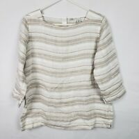 LL Bean WOmens Top Size S White Brown Striped 100% Linen 3/4 Sleeve Blouse